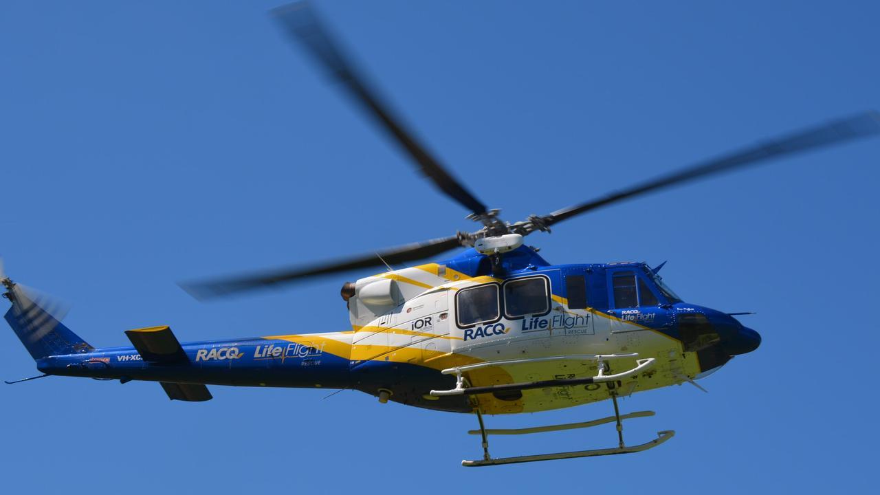 The RACQ LifeFlight helicopter.