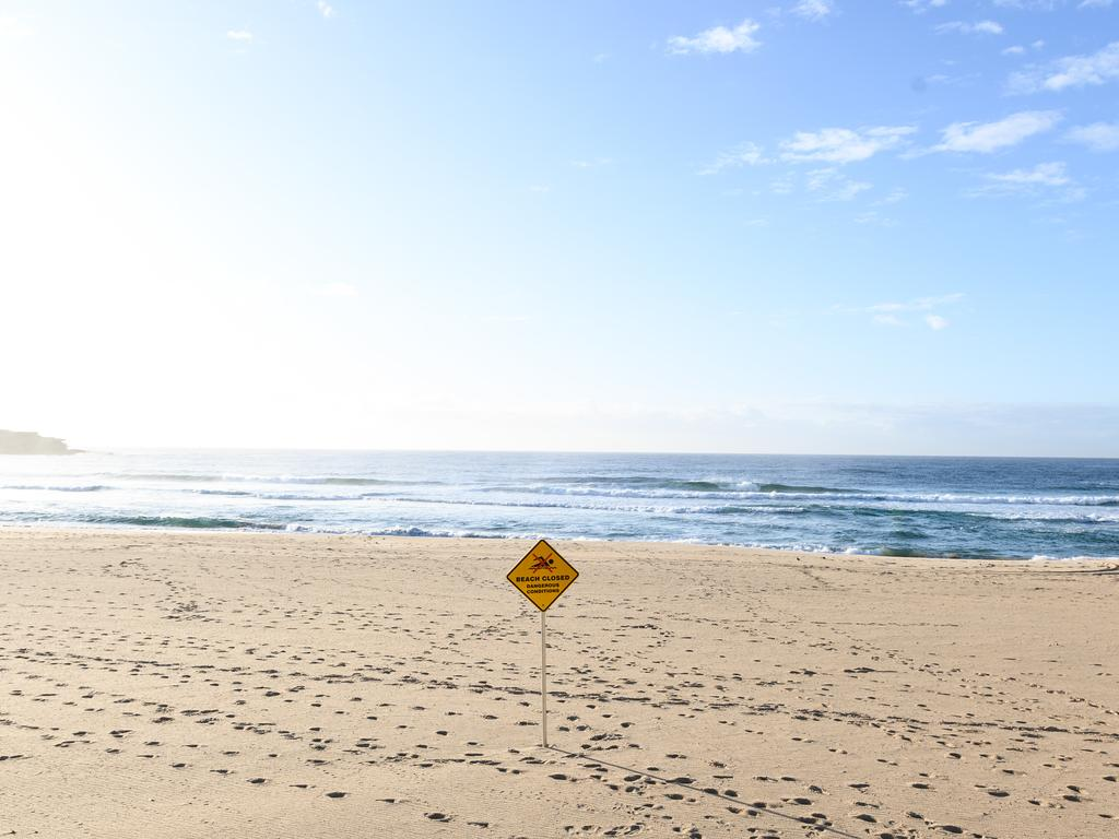 An empty Bondi Beach, in Sydney, Saturday, March 28, 2020. Picture: James Gourley