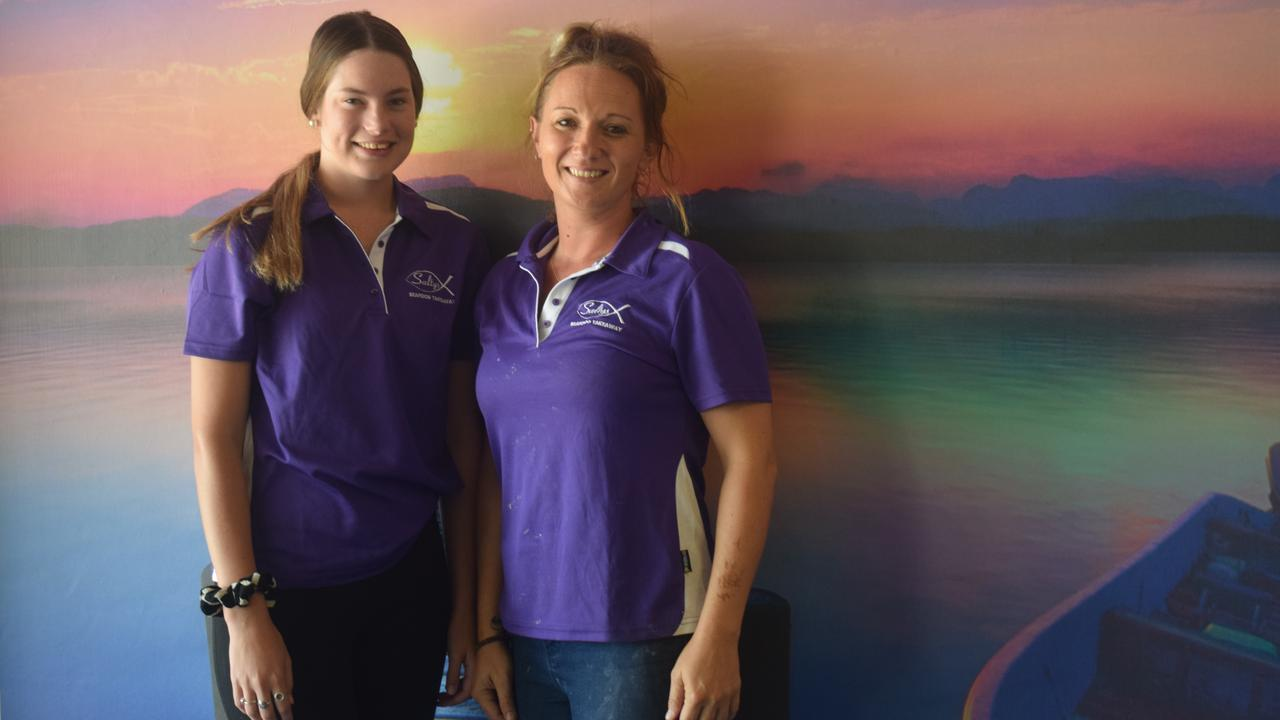 BACK IN BUSINESS: Salty's new employee Anika Hohn and new business owner Megan Parton who opened the shop yesterday.
