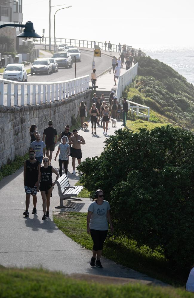 People out on the coastal walk near Bronte Beach, in Sydney on Saturday despite calls for social distancing rules.