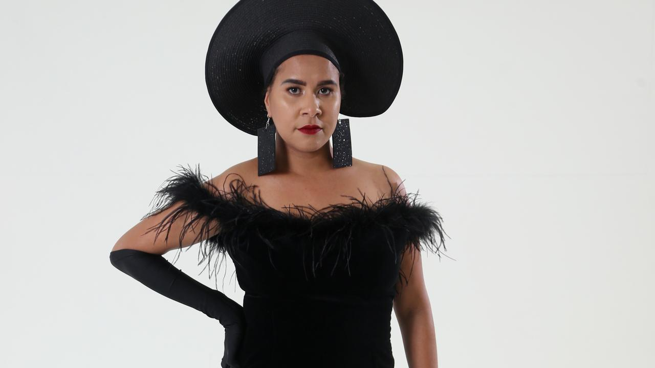 Indigenous designer Cheryl Creed has created an elegant collection of Hollywood inspired evening wear, all black. Model Perina Sagigi. PICTURE: STEWART McLEAN