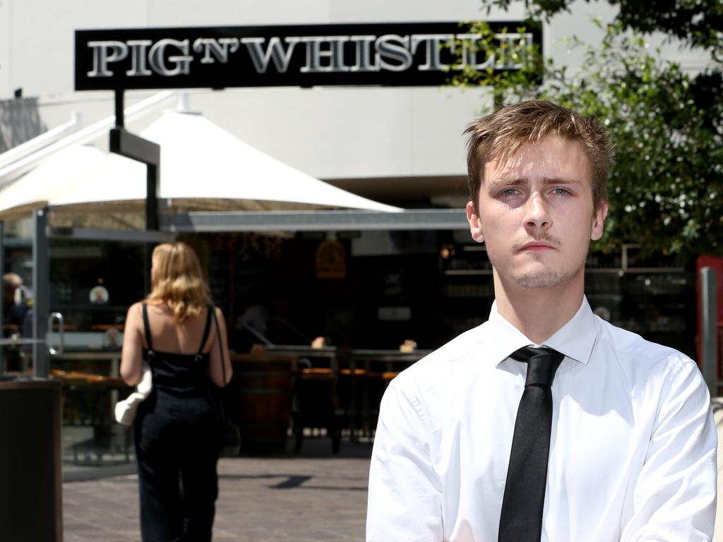 Declan Langlands in front of the Pig N Whistle in Brisbane's CBD. Picture: Steve Pohlner