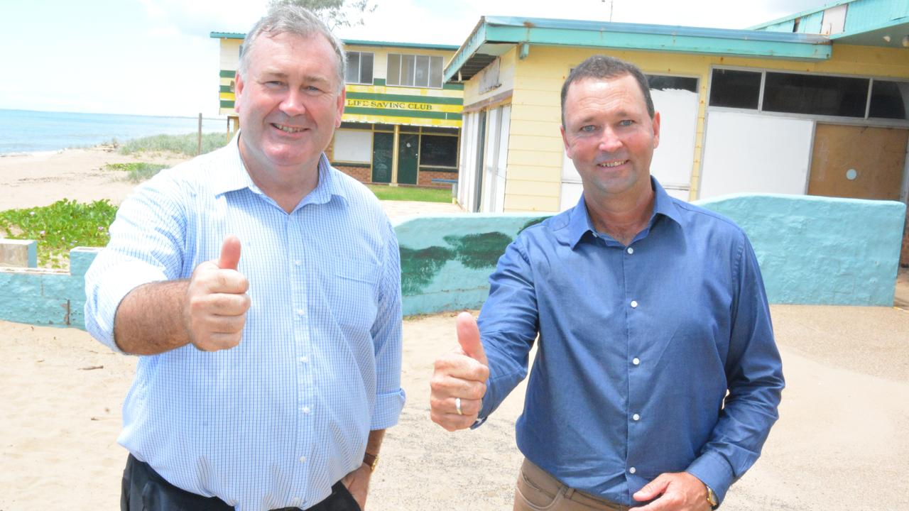 Mayoral candidate Jack Dempsey and division 1 candidate Jason Bartels advocate a master plan for Moore Park Beach.