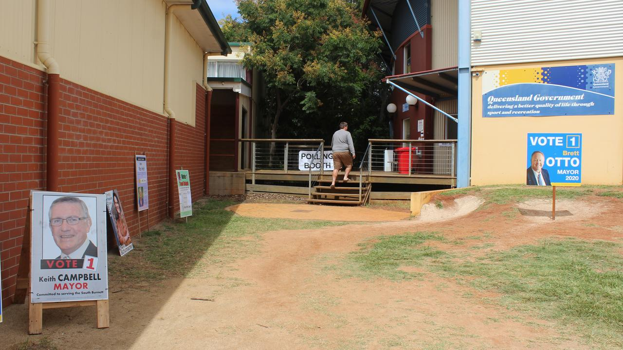 Residents came in sporadically to the Kingaroy State High School to vote. Photo: Laura Blackmore