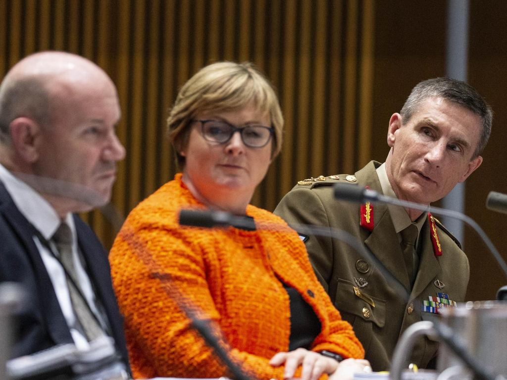 Senate Estimates into the department of Defence at Parliament House in Canberra. Secretary of Defence Greg Moriarty, Minister for Defence Senator Linda Reynolds and CDF General Angus Campbell appeared at estimates. Picture Gary Ramage