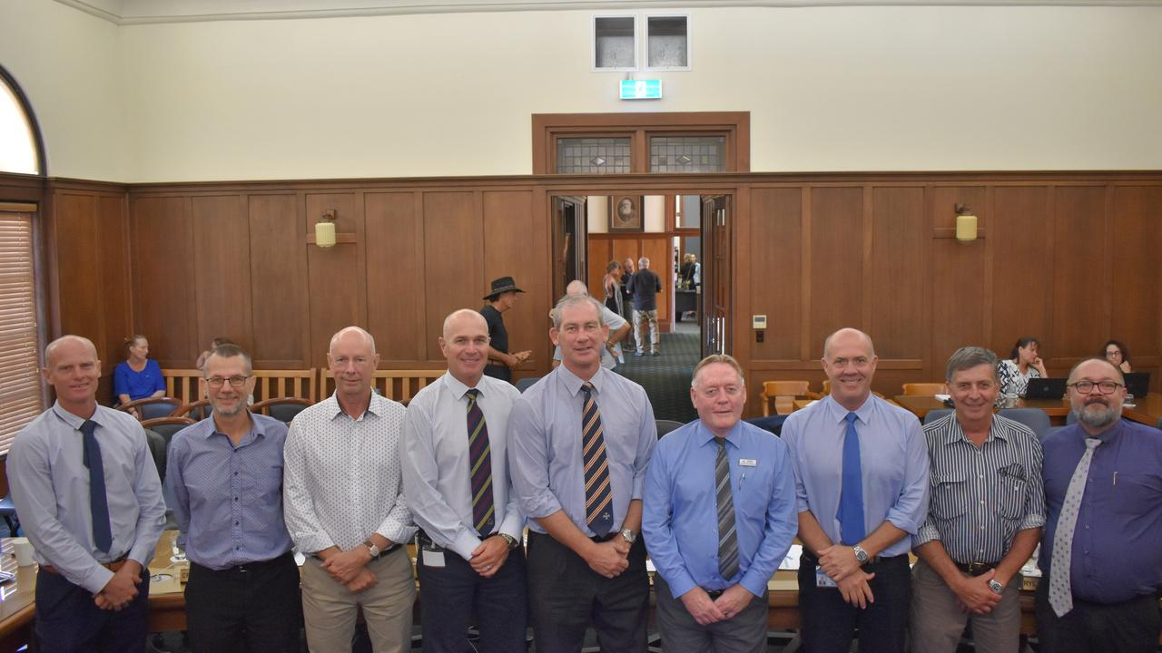 The incumbent Gympie Regional Council during its last ordinary meeting before the 2020 election, March 4 2020. From left: Glen Hartwig, Dan Stewart, Bob Fredman, Deputy Mayor Bob Leitch, Mayor Mick Curran, Mark McDonald, Mal Gear, Hilary Smerdon and Daryl Dodt.