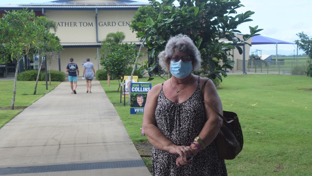 Laurel Hanson took safety measures when casting her vote in Proserpine.