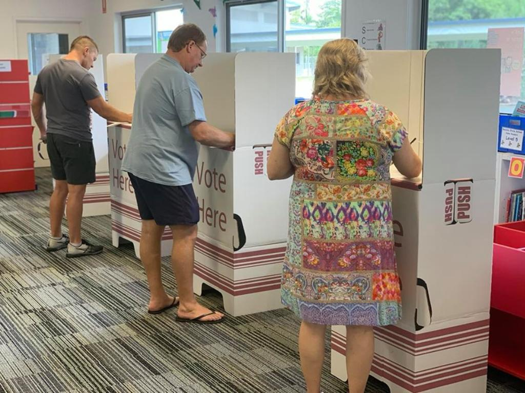 Residents vote at the Bucasia SS polling booth.