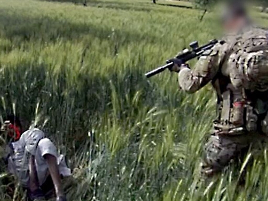 Screengrab from a video which shows an Australian SAS soldier shooting and killing an unarmed man at close range in Afghanistan. Source: FourCorners