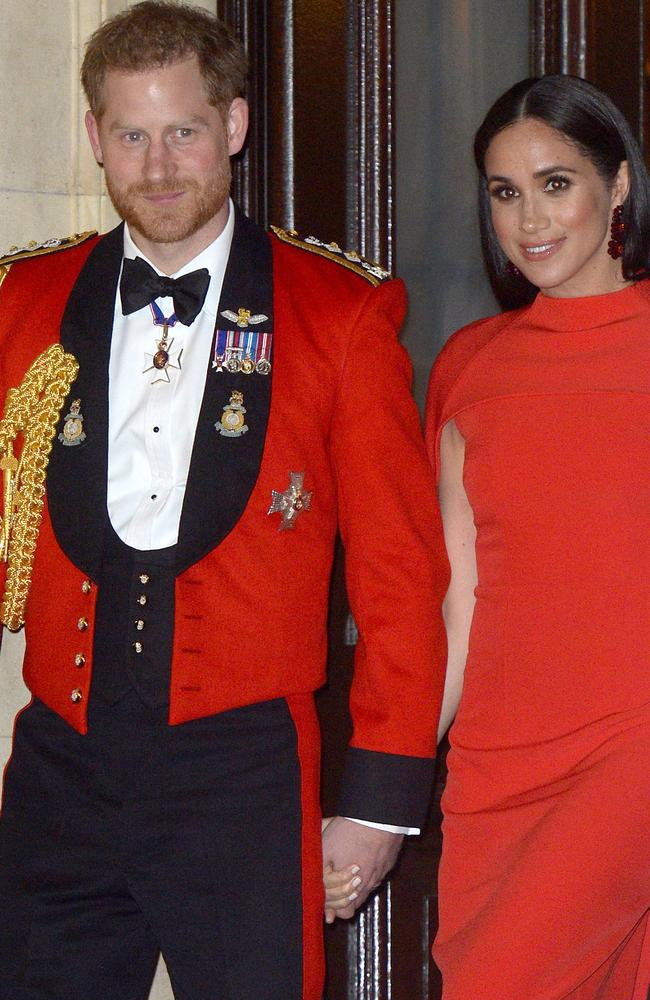 Prince Harry, Duke of Sussex and Meghan, Duchess of Sussex at one of their final royal engagements earlier this month in London.