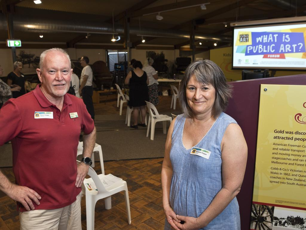 Cobb and Co Museum operations manager and ACT member Steve Cooper with project lead researcher and ACT member Dr Margaret Power at the What is Public Art? forum hosted by Arts Council Toowoomba at the museum, Saturday, March 21, 2020. Picture: Kevin Farmer