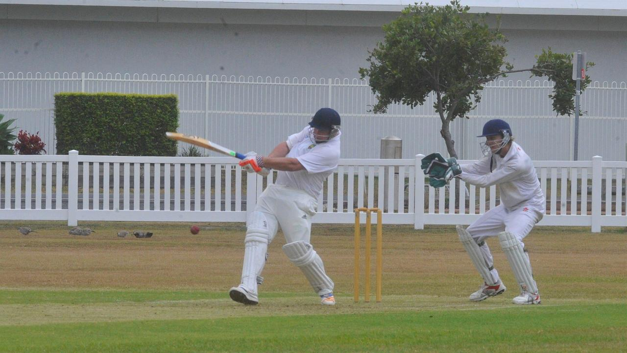 Maclean United captain Jarrad Moran gets a good shot away in the round one clash between Yamba Cricket Club and Maclean United Cricket Club at Yamba Oval.
