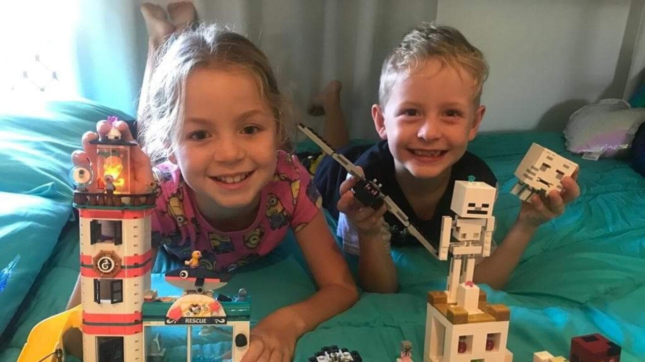 EVERYTHING IS AWESOME: Riley and Declan McMaster's stepfather Mick Lawrance has created a 30-day LEGO challenge for local kids.
