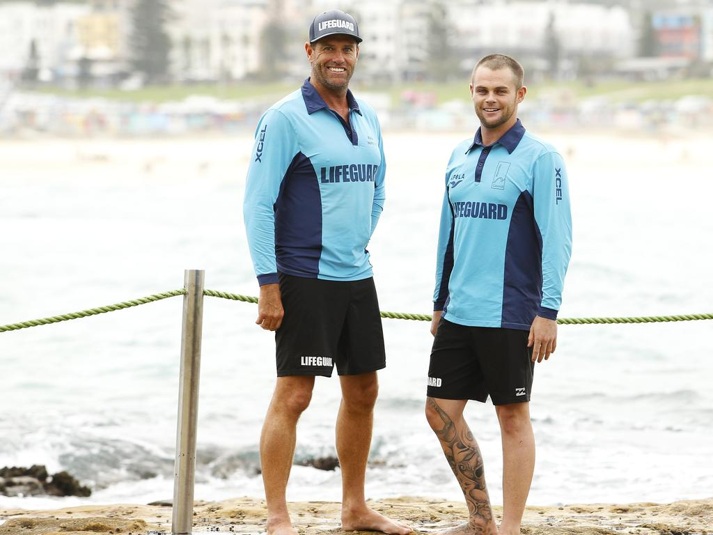 Polock with Bondi Rescue boss Bruce 'Hoppo' Hopkins.