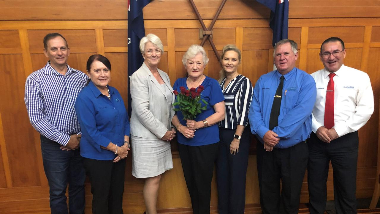 Councillors Tony Williams, Ellen Smith, Margaret Strelow, Cherie Rutherford, Neil Fisher and Drew Wickerson all gave departing Councillor Rose Swadling (centre) a rose for her last meeting.