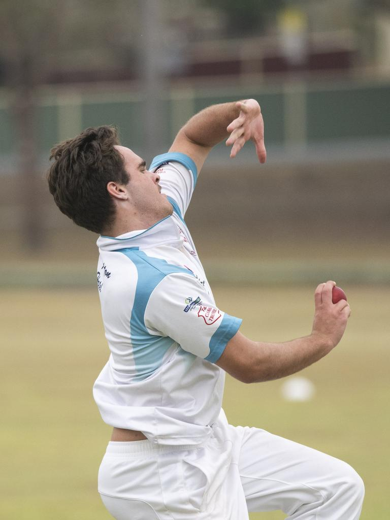 Eli Fahey bowls for Coutts in Premier League match between South Services and Coutts Crossing
