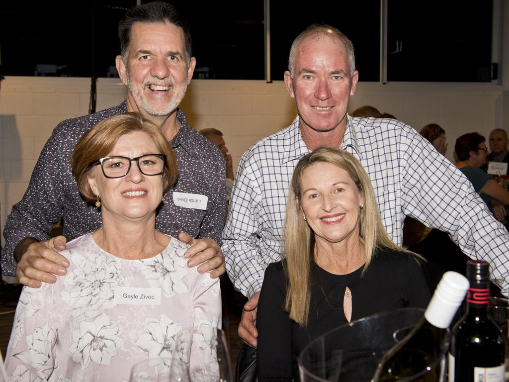 At A Night with Ian Healy hosted by Toowoomba Grey Cavaliers Veterans Cricket Club are Lance Zivec (back, left) and Richard Buyers with Gayle Zivec (front, left) and Toni Buyers.