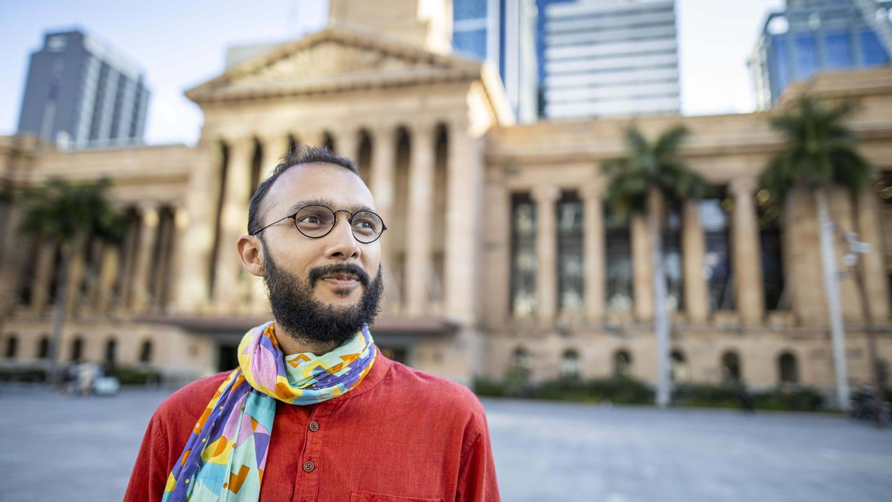 Winners are grinners. Cr Jonathan Sri could secure 65 to 75 per cent of the two-party preferred vote in The Gabba ward, one of the best results for the Greens in Australian political history. Picture: Glenn Hunt/The Australian