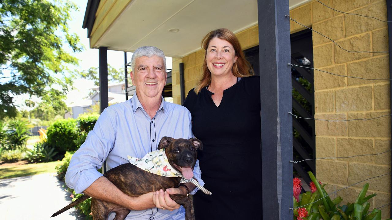 Council Candidate Phil Truscott with his wife Tanya Truscott and puppy Pippa. Photo: Cody Fox
