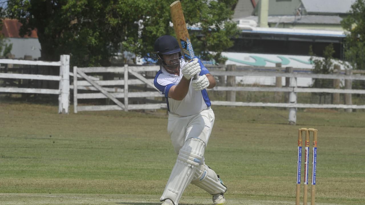 Tuc-Cop's Tim Bultitude shapes one down off side during the GDSC Premier League cricket match between Tucabia-Copmanhurst GI Hotel and Westlawn East at the Ulmarra Showground on December 14, 2019.