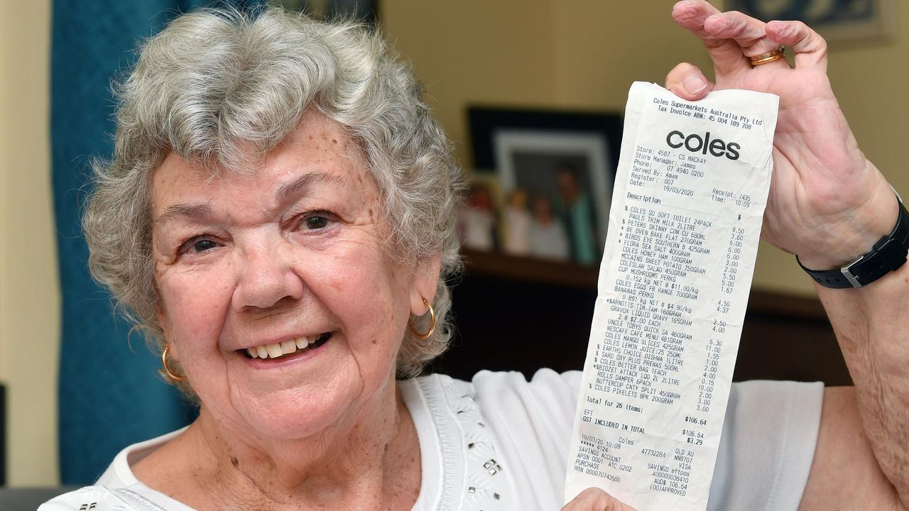 Maureen Langton with her shopping docket after a stranger bought her groceries for her. Picture: Tony Martin