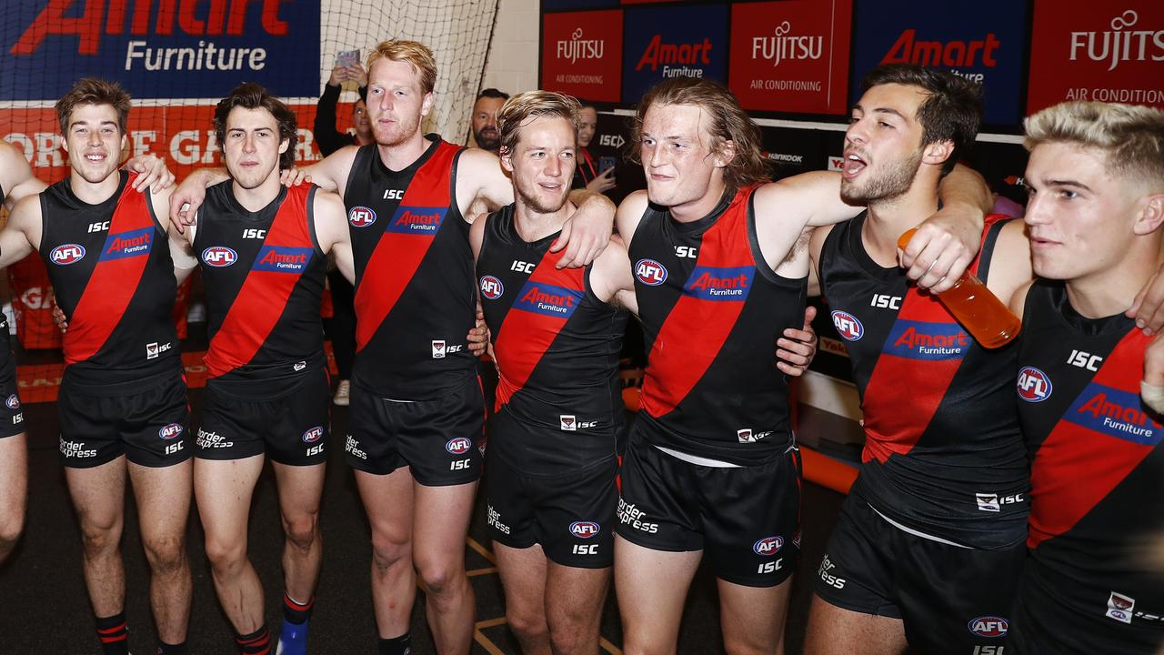 The young Bombers were just beginning to turn the corner. Picture: AAP