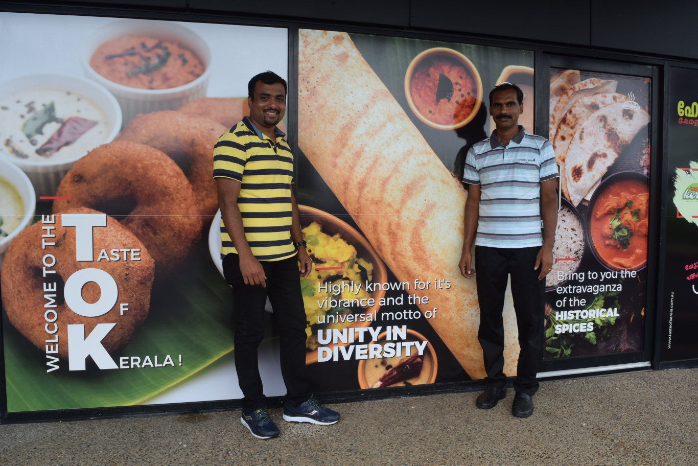 Jibin Jacob and Joji Joseph outside Taste of Kerala.