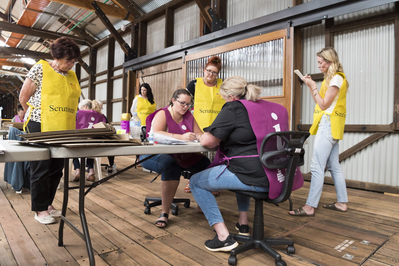 Vote counting in the Toowoomba Regional Council local government 2020 election continues at The Goods Shed, Sunday, March 29, 2020. Picture: Kevin Farmer