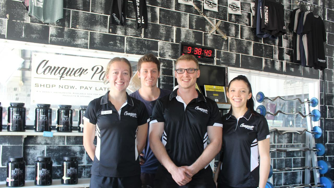 FITNESS FIRST: Amber Oliver, owner Christian Sutton, Les Everest and Zoe Bowman at the Kingaroy Conquer Fitness centre, before they were forced to close to adhere with the government's social distancing rules. Photo: Laura Blackmore.