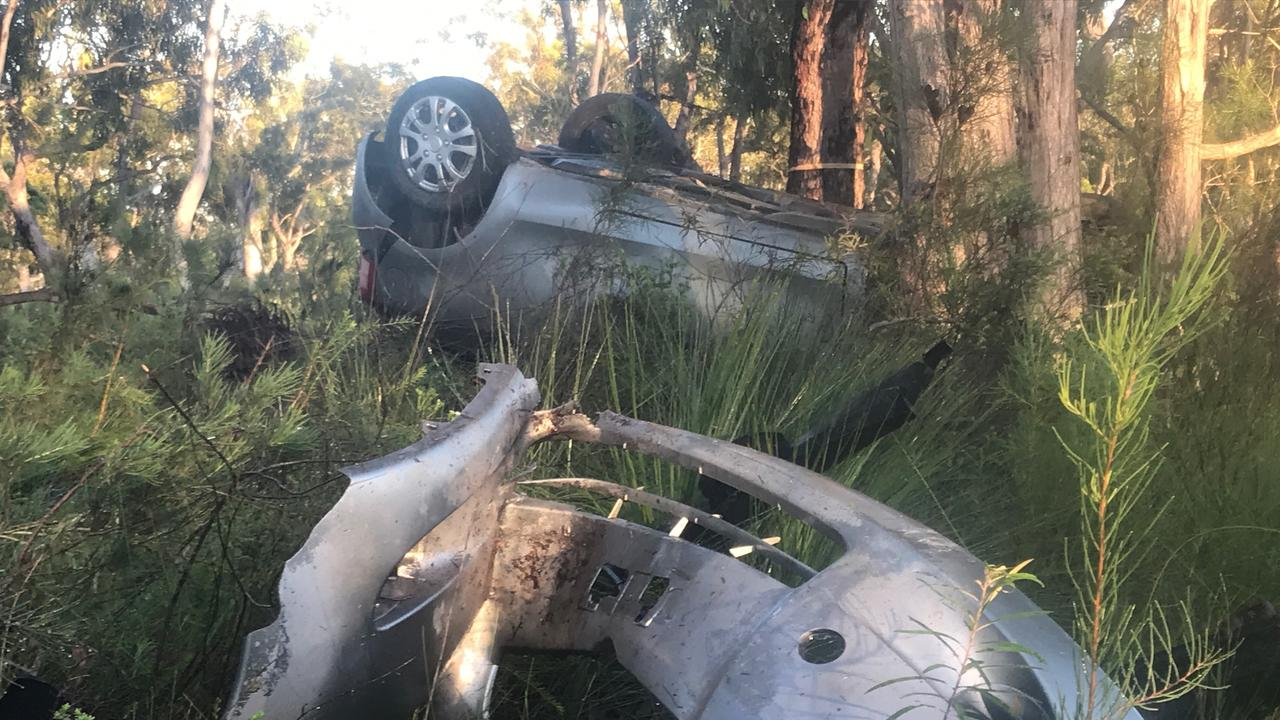 MYSTERY: Police are investigating a single vehicle crash on Rainbow Beach Rd, in which a silver Toyota Yaris was wrecked on impact with trees.