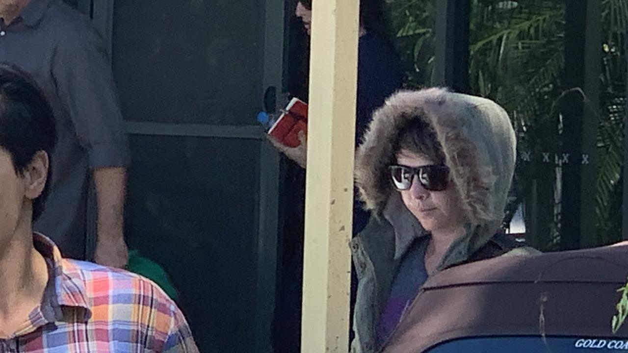 The sister of Brenton Tarrant, Lauren Tarrant, leaving the house at Sandy Beach. Picture: Nick Hansen