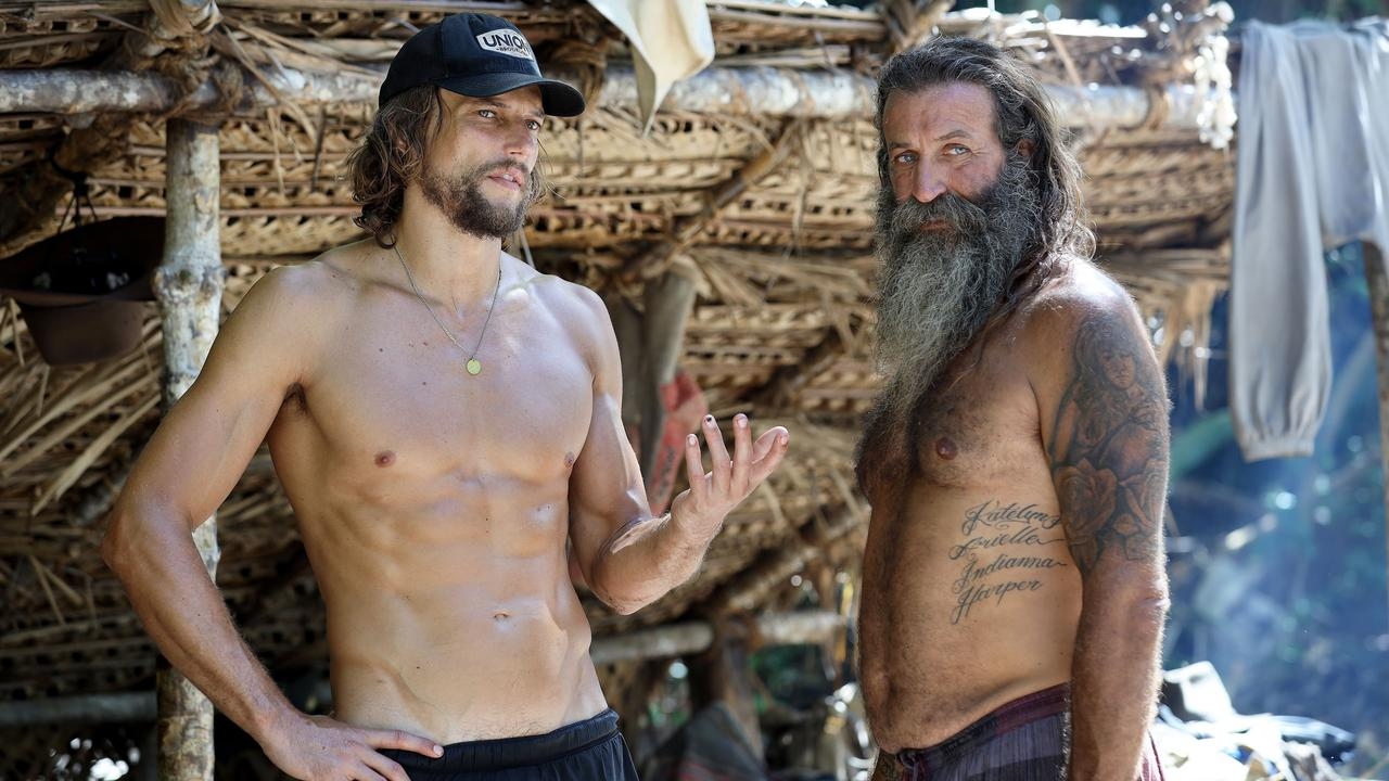 David Genat (left) and Tarzan on Australian Survivor.