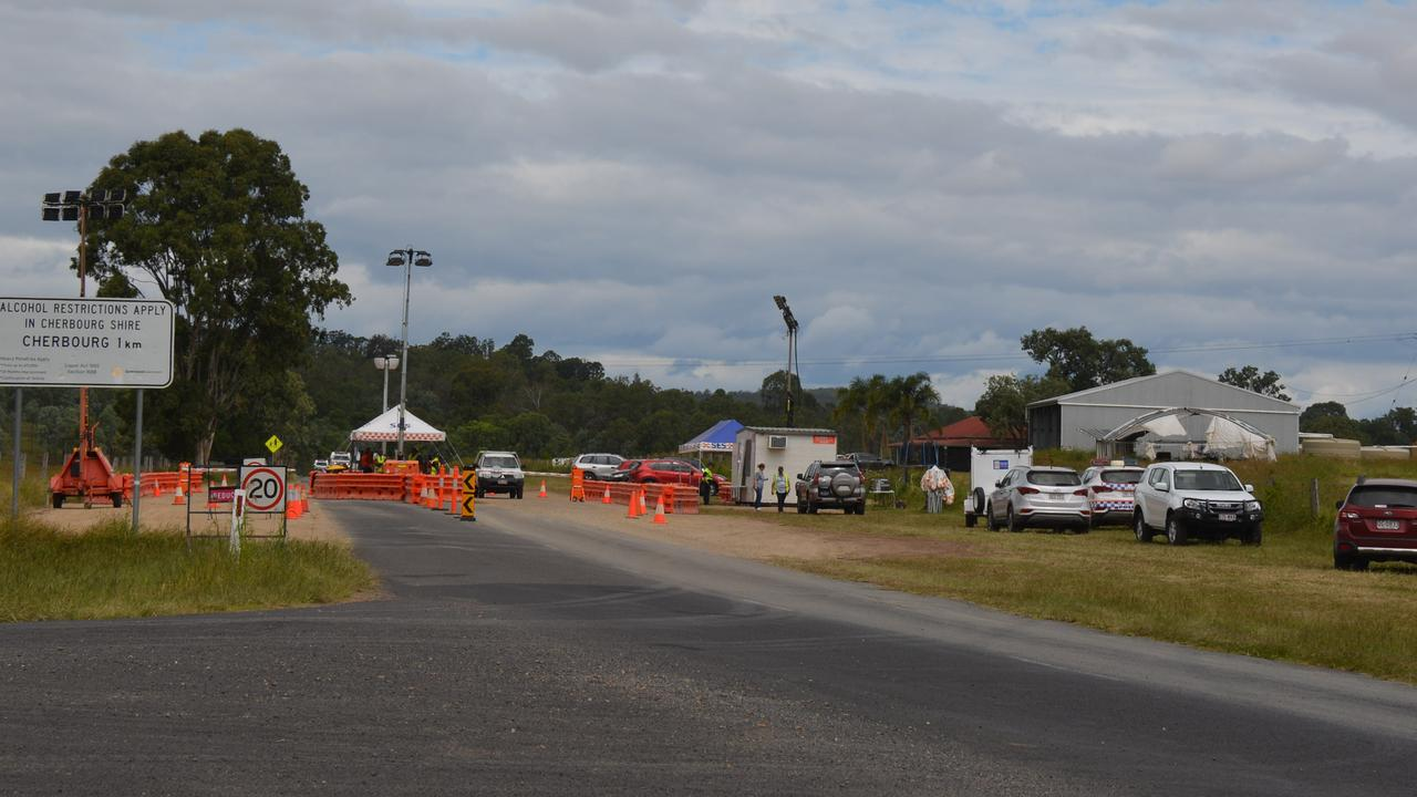 The checkpoint on Cherbourg Murgon Rd, where anyone planning to enter Cherbourg will be monitored for signs of coronavirus before they can enter the community.