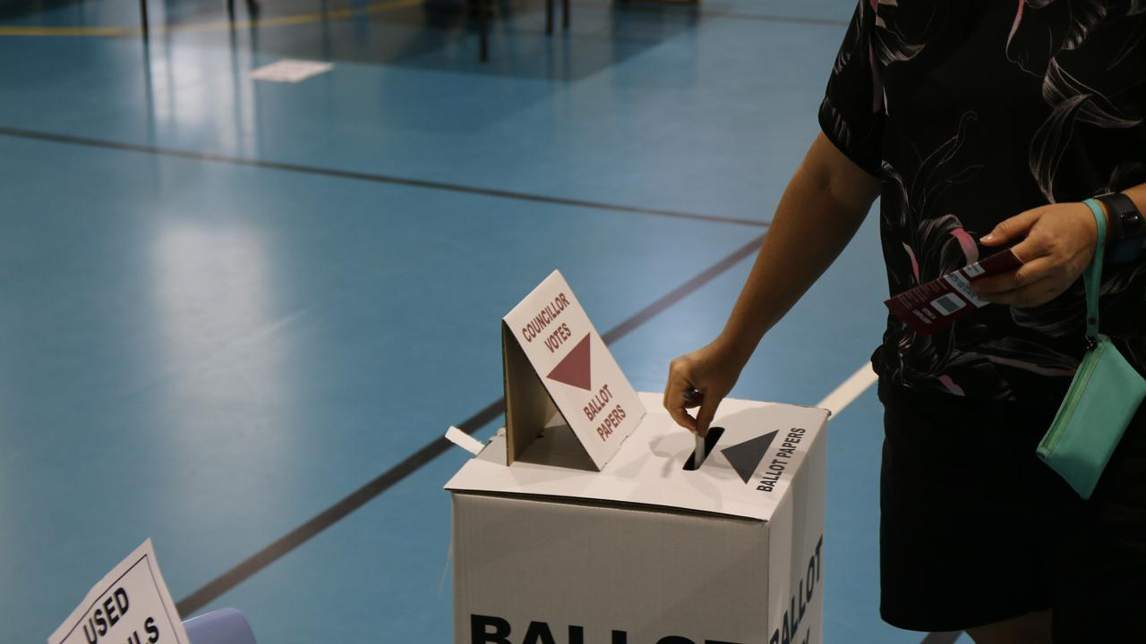 Polling booths at Gatton State School for the 2020 council elections, March 28, 2020. Picture: Dominic Elsome