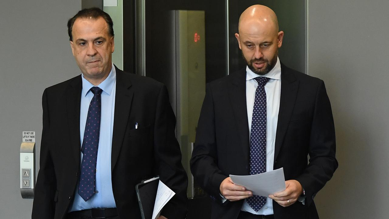 ARLC chairman Peter V'landys and NRL CEO Todd Greenberg. Picture: Joel Carrett/AAP
