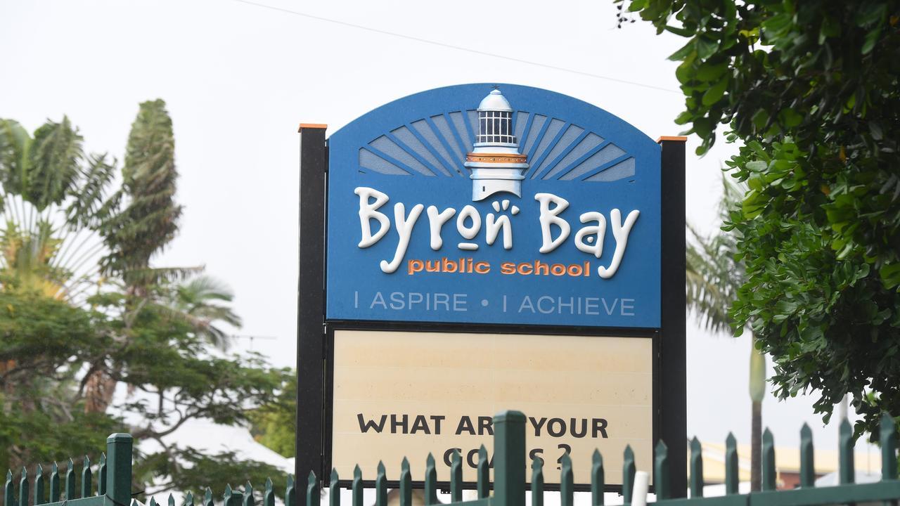 A woman allegedly stabbed a Byron Bay Public School teacher.