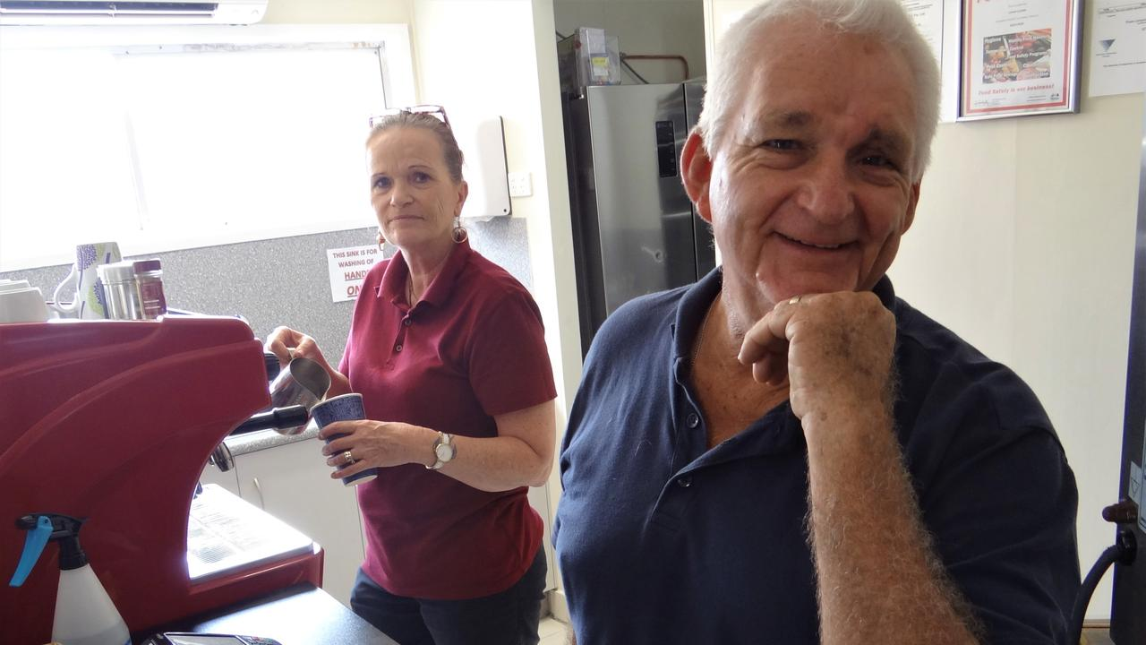 My Office Cafe manager Karen Smith and owner Lionel Luckel on the opening day of the North Mackay coffee shop. Photo: Zizi Averill