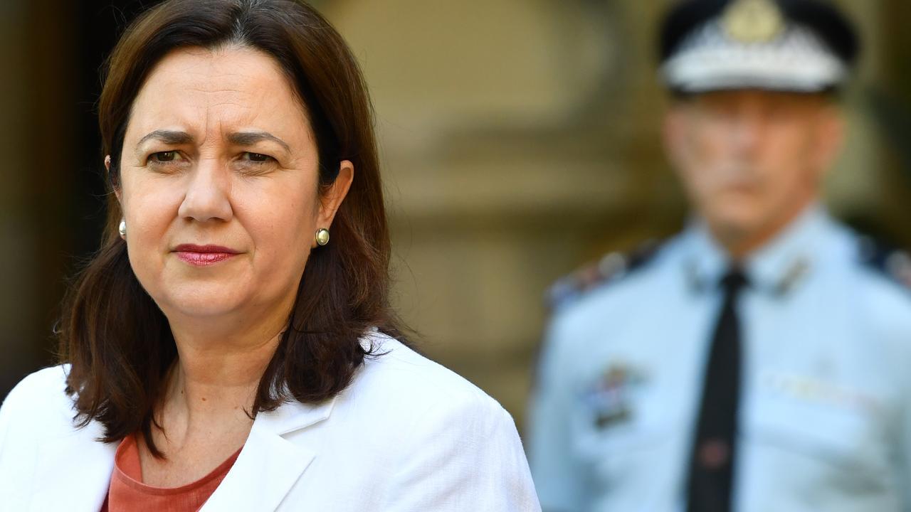 "Queensland Premier Annastacia Palaszczuk (left) says it's ""no time for fun"". Picture: AAP/Darren England"