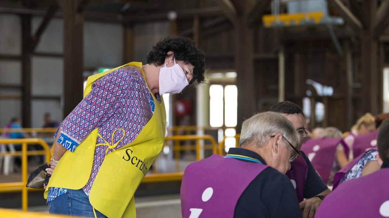 Candidate Nancy Sommerfield scrutineers as vote counting in the Toowoomba Regional Council local government 2020 election continues at The Goods Shed, Sunday, March 29, 2020. Picture: Kevin Farmer