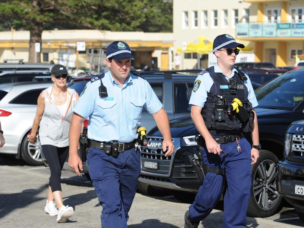 Police patrol Sydney after new mass gathering bans kicked in. Picture: Simon Bullard/AAP ARCHIVING