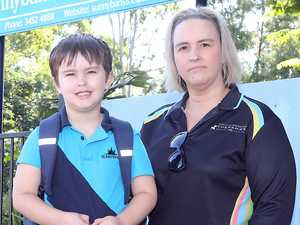 Emotional parents forced to take kids to school