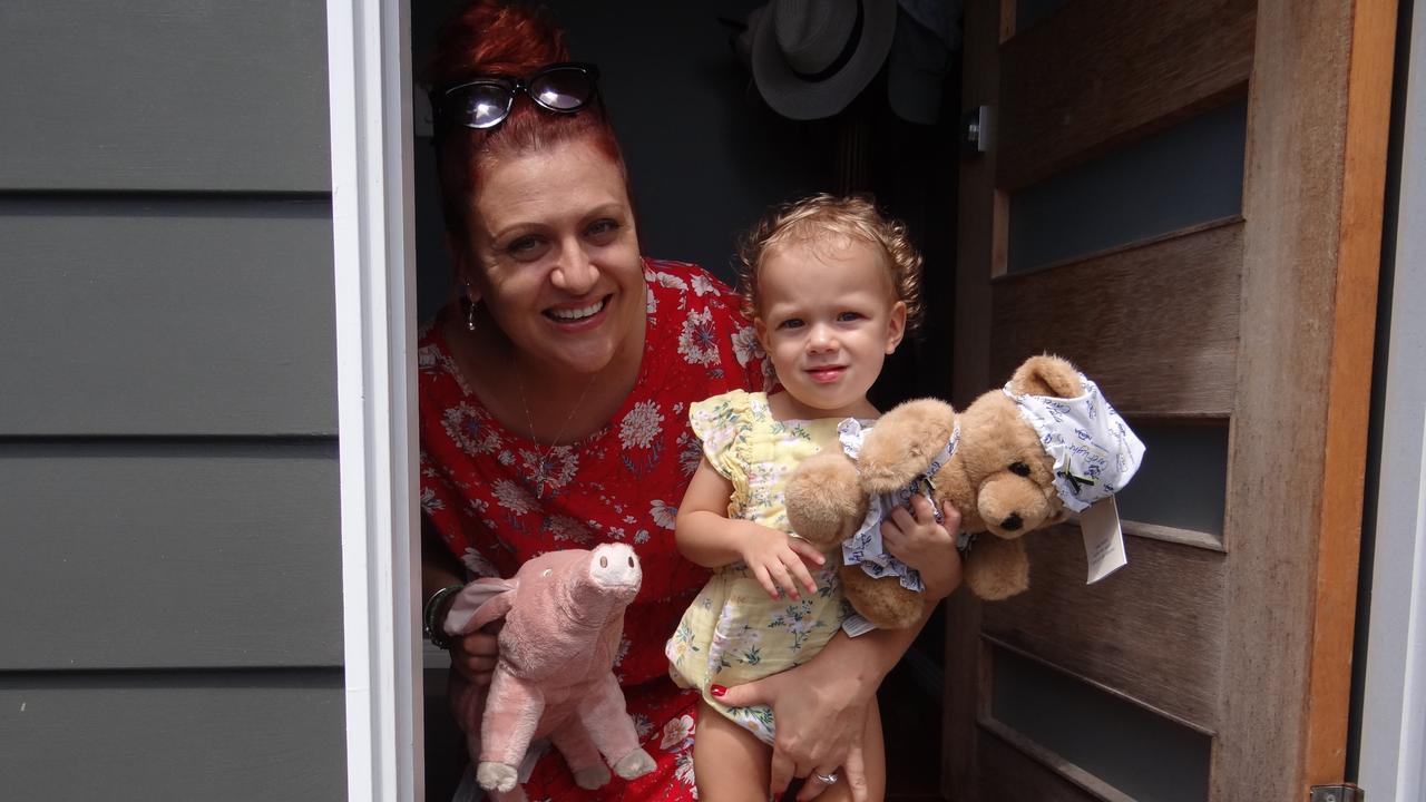 North Mackay resident Christene van Wyk has organised a Mackay bear hunt to help keep children like her daughter, Willow van Wyk, 1, distracted while maintaining social distancing. Photo: Zizi Averill