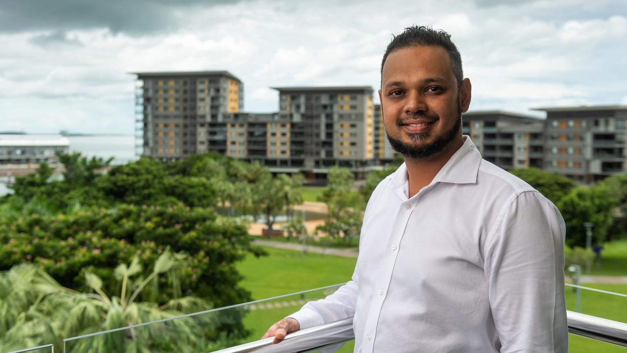 General manager Sid Bhatia from the Adina Vibe Hotel, on the Darwin Waterfront, is offering deals for Territorians to stay at reduced prices in his hotel due to the downturn from the coronavirus. Picture: Che Chorley