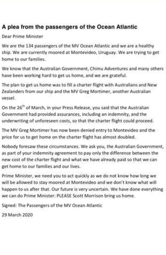 MV Ocean Atlantic passengers emailed this letter to Prime Minister Scott Morrison.