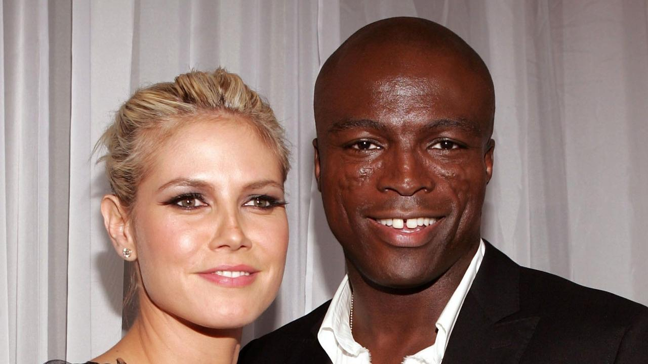 Sept 15 2004 : Musician Seal & model Heidi Klum arrive at the World Music Awards in Las Vegas. Pic AFP /Getty /Images. Seal/Singer music singers headshot couple fashion revealing see through dress