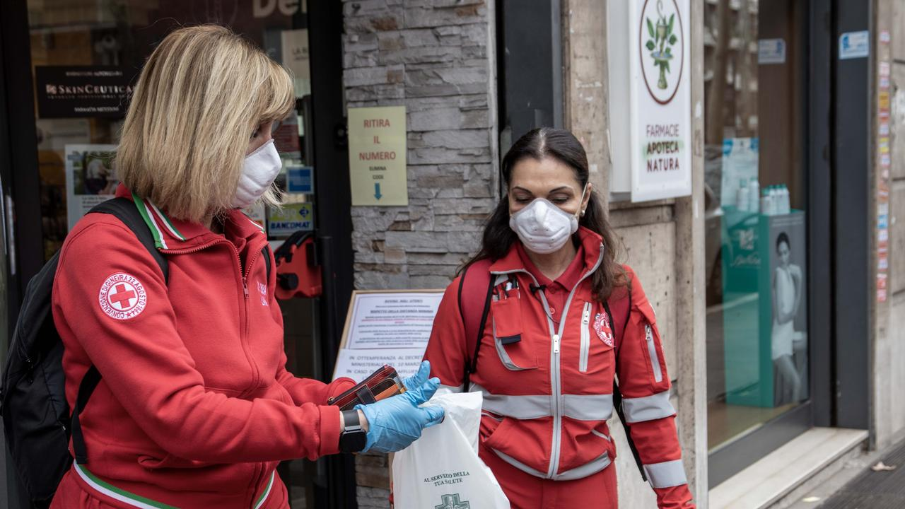 Red Cross volunteers have begun delivering medicine to the homes of vulnerable people in self-isolation in Italy. Picture: supplied