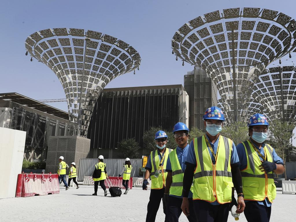 Workers at a construction site in Dubai, United Arab Emirates, which has recommended the organisers of the Expo 2020 to postpone the world's fair until next year over the new coronavirus pandemic. Picture: Kamran Jebreili