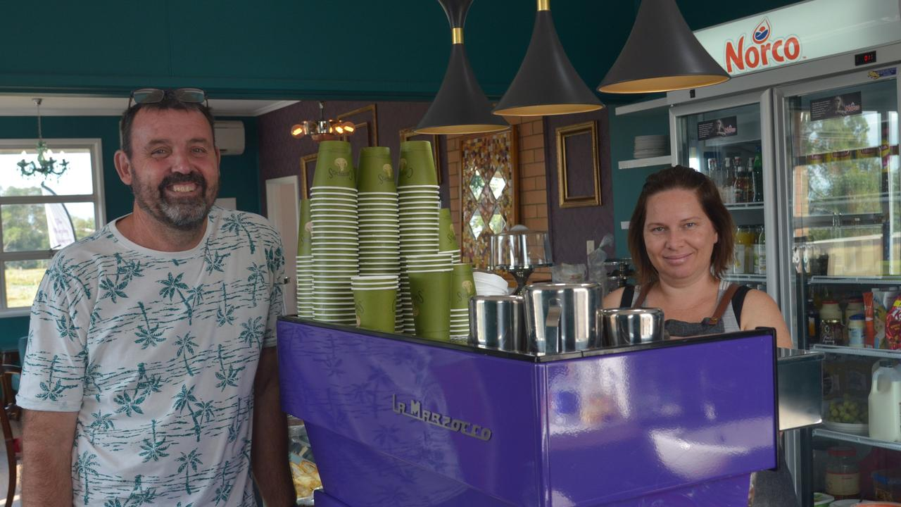 GIVING BACK: Owner Duanne Karle and barista Korine Lewis at The Weeping Mulberry giving support to essential workers in coffee form.