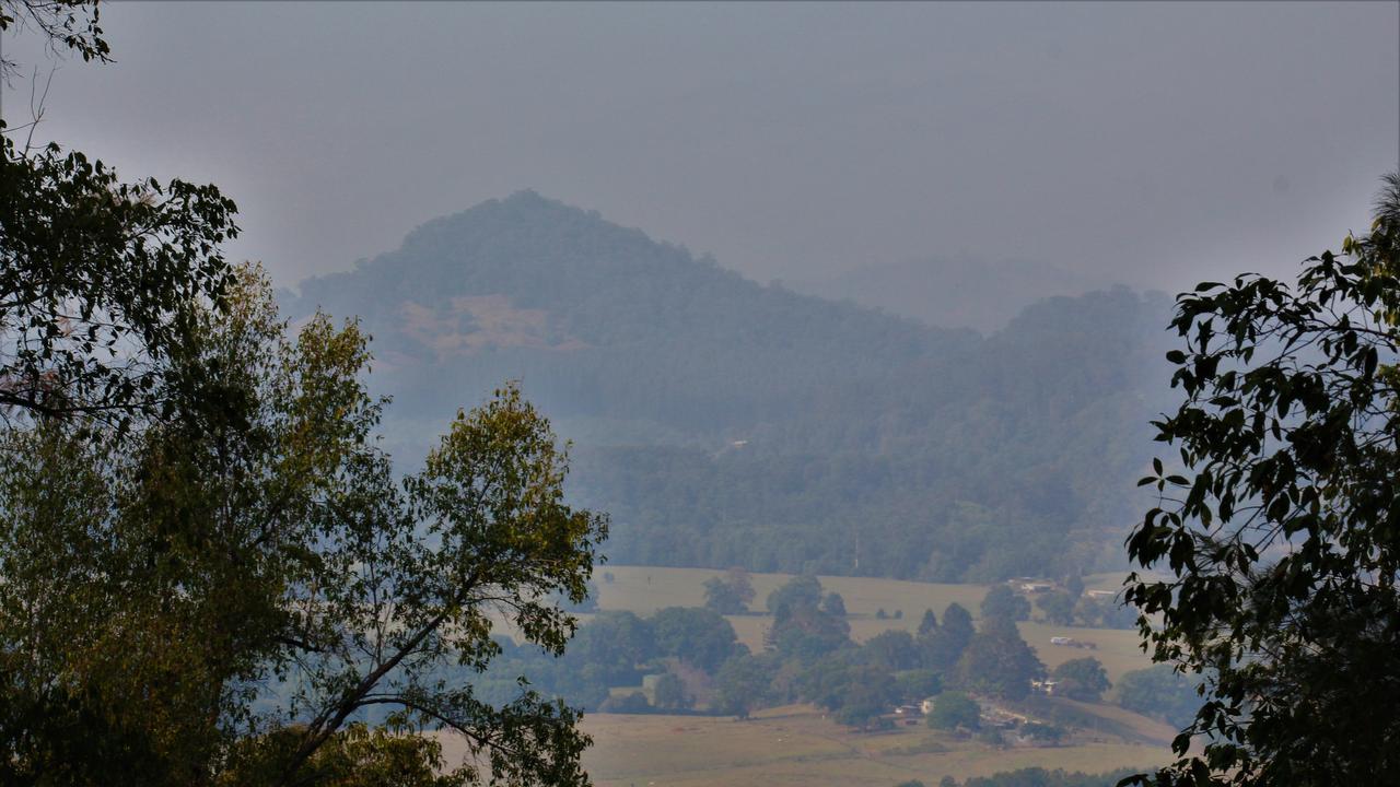 Wollumbin Mount Warning through the smoky haze. Picture: Shirley Sinclair