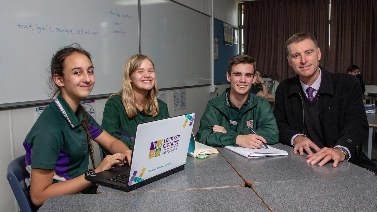 NEW WORLD: Lockyer District State High School principal Darren Cook (right) said the school was preparing well to transition to online learning next term. Picture: File